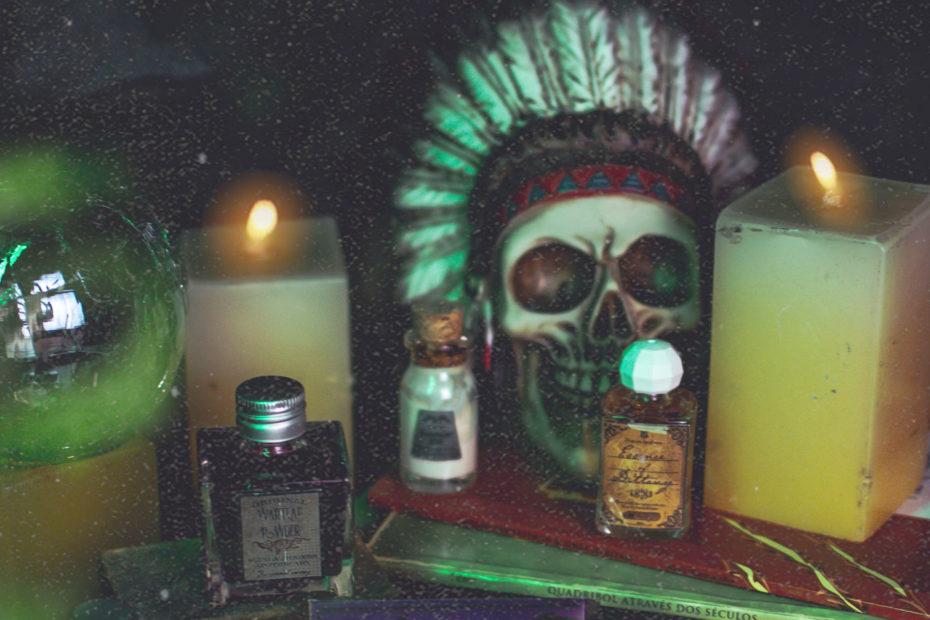 skull, candles, potion bottles
