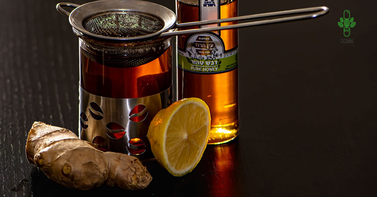 herbal remedy with ginger and honey